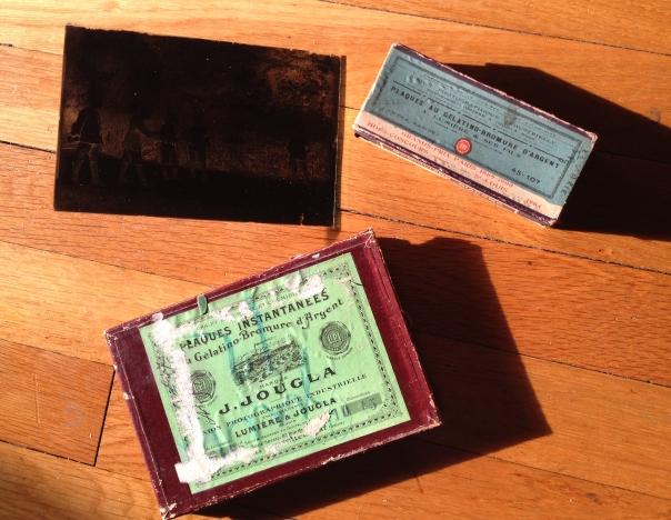 lastra di vetro e scatole originali francesi